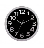 CLOCK CARVEN 33CM FASHION BLACK FACE- SILVER NUMBERS