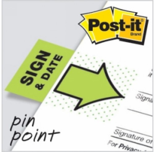 3M Post-It Flags Sign & Date Green 2 Pack