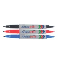 Marker artline 041t twin tip black bx 12