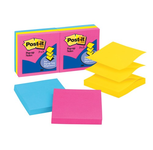 3M Post-it Pop-up Notes 6 Pack Assorted Neon Colours Pack of 6