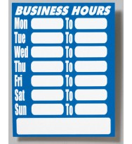 Sign business hours laminated 220x280