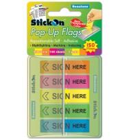 Stick on flags b/tone pop-up sign here 45x12 5 asst pads 150sht