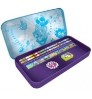 Pencil tin filled moshi monsters fun park