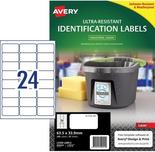 AVERY 959241 ULTRA HEAVY DUTY LABEL L7912  - 24UP 63.5X33.9MM 10/PK
