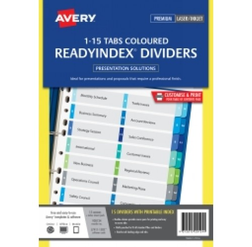 Avery Divider 1-15 Coloured Tab