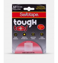 Tabs Sellotape Tough Tab 25X25MM Double Sided Clear Pack 12