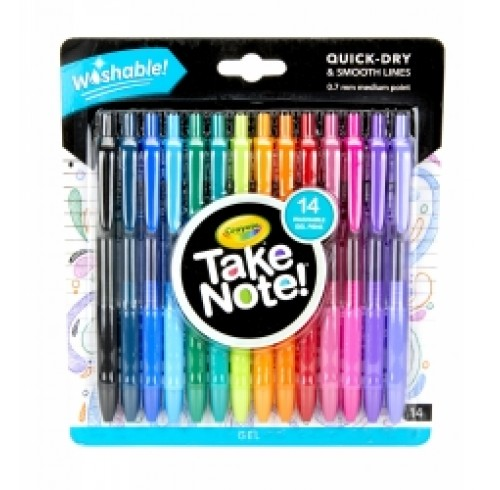 Pen Crayola Take Note Washable Assorted Colours Pack 14