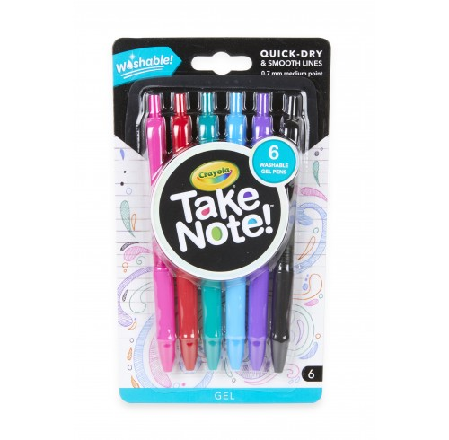 Pen Crayola Take Note Washable Assorted Colours Pack 6