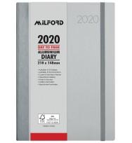 Diary 2020 Milford A5 Aluminium 'Week to View' -Silver