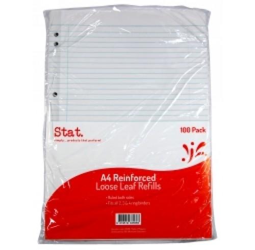 LOOSE LEAF REINFORCED REFILLS A4 RULED PK 100 EA