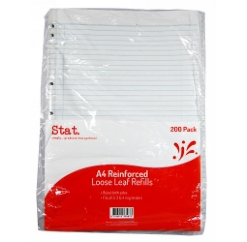 STAT LOOSE LEAF REINFORCED REFILLS A4 RULED PK200 EA