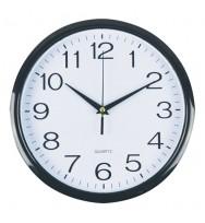 CLOCK ITALPLAST 30CM WALL PLASTIC WHITE FACE/BLACK TRIM