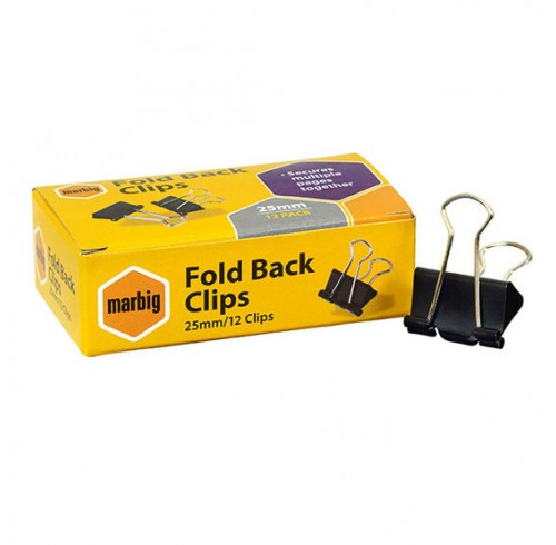 Foldback Clips Marbig 25mm Box 12
