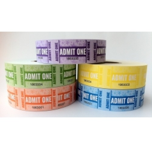 Tickets admit one rolls (1000 p/roll) - pack of 5