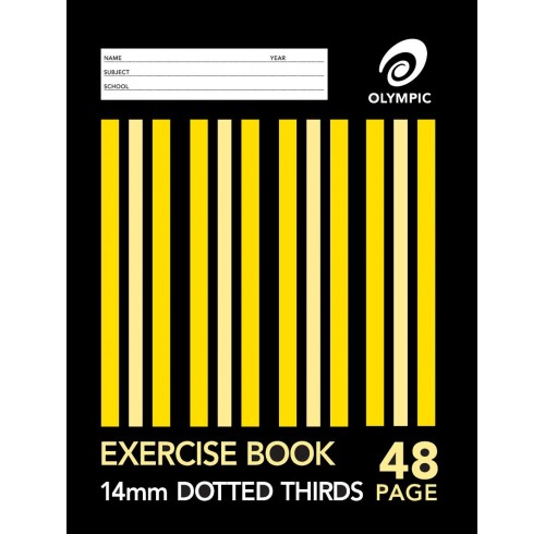 Exercise book 9x7 stripe 48pg 14mm d/3rds pk 10
