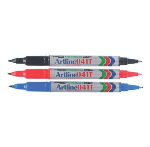 Marker artline 041t twin tip black bx 12