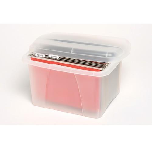 Office in a box crystalfile porta box w/files clear