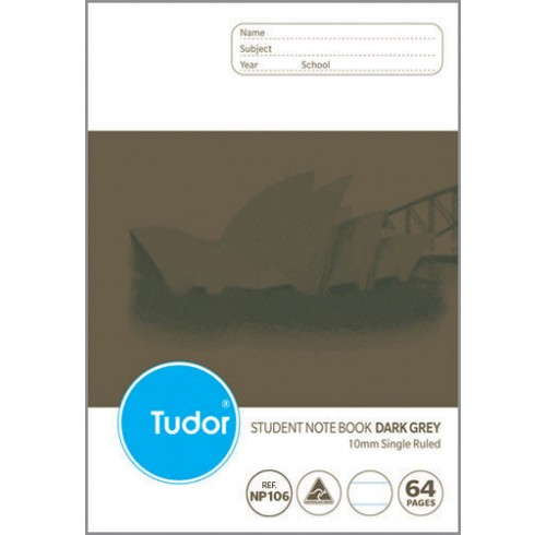 Exercise book tudor 64pg 10mm s/ruled (p) d/grey - pack of 20
