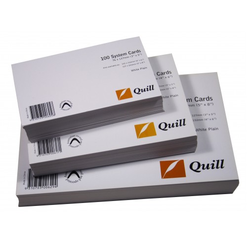 System cards plain 76 x 127 (5x3) white