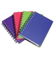 Note book c/land a6 wiro h/c bright col asstd pk4
